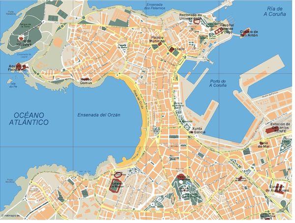 Mapa A Coruña Illustrator - Freehand