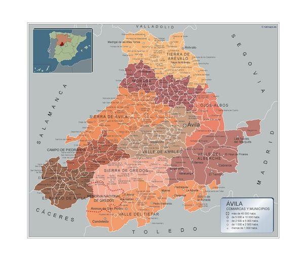 mapa municipios Avila