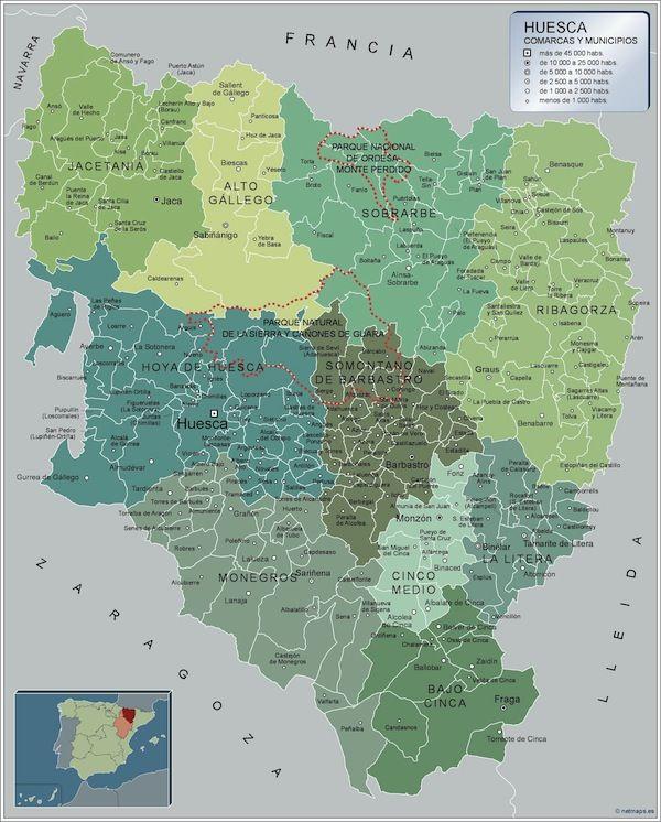 mapa municipios Huesca
