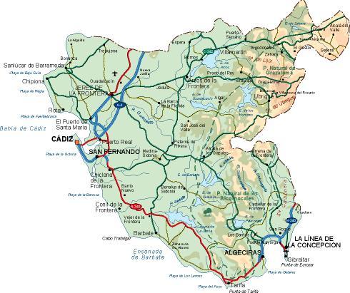 mapa provincia Cadiz